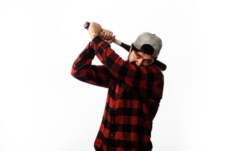 Power and energy concept. Baseball player with baseball bat. Sport, training, health. Fashionable man wearing plaid shirt. Sport equipment. Bearded man with baseball bat. Sports and baseball training 版權商用圖片