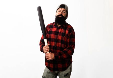 Sport equipment. Baseball player with baseball bat. Sport, training, health. Fashionable man wearing plaid shirt. Bearded man with baseball bat. Sports and baseball training. Power and energy concept