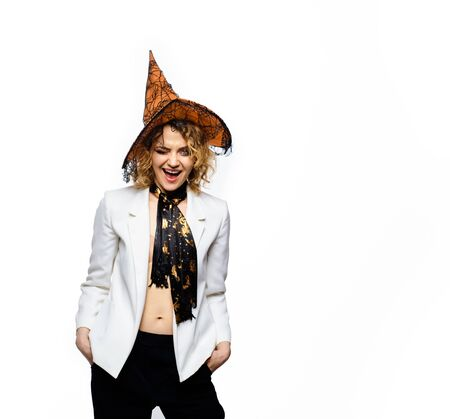 Witch magic. Magic hat. Woman dressing in Halloween costume with witch's hat. Happy Halloween holiday. Halloween witch in magic hat. 31 october. Costumes and witch hats. Advertising Halloween concept
