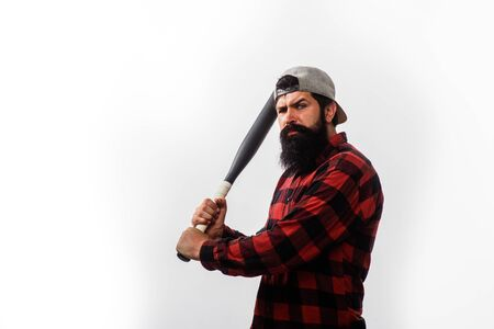 Baseball player with baseball bat. Sports and baseball training. Sport equipment. Fashionable man wearing plaid shirt. Power and energy concept. Sport, training, health.Bearded man with baseball bat