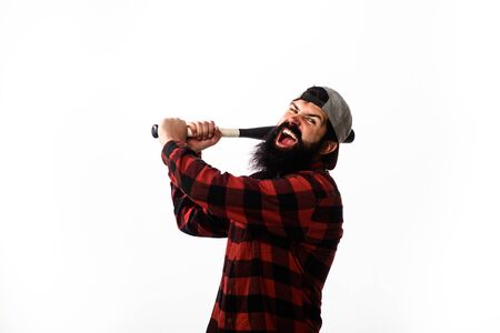 Baseball player with baseball bat. Sport equipment. Power and energy concept. Sport, training, health. Fashionable man wearing plaid shirt. Bearded man with baseball bat. Sports and baseball training