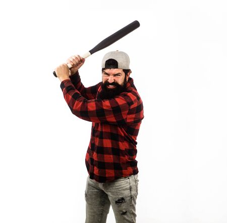 Baseball player with baseball bat. Sports and baseball training. Sport equipment. Power and energy concept. Sport, training, health. Fashionable man wearing plaid shirt. Bearded man with baseball bat
