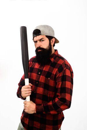 Baseball player with baseball bat. Bearded man with baseball bat. Sports and baseball training. Sport equipment. Power and energy concept. Sport, training, health. Fashionable man wearing plaid shirt