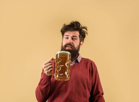 Oktober fest. Barman. Brewer. Oktoberfest festival. Tasting fresh brewed beer. Brewer holds glass with craft beer. Brewery concept. Man with beer of mug. Alcohol. Male brewer holds glass with beer