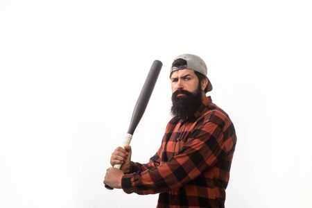 Power&energy concept. Sport, training, health. Angry man in plaid shirt ready to swing. Bearded man with baseball bat. Baseball player with baseball bat. Sports and baseball training. Sport equipment