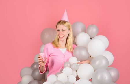 Happy birthday celebration. Party celebration with balloons. Balloon. Party mood. Beautiful girl in birthday hat with balloons. Girl in pajama celebrate pajama party. Smiling woman in party balloons Archivio Fotografico - 134339821