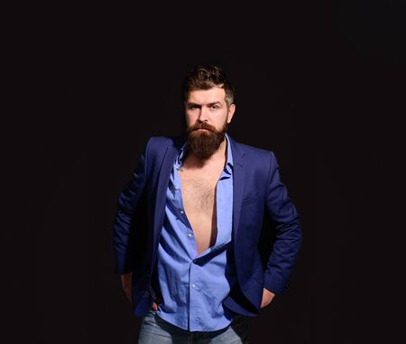 Pondering businessman. Thoughtful dreamy serious man. Pensive smart successful bearded businessman in elegant suit pondering business strategy. Attractive bearded man in suit thinking about something Archivio Fotografico - 134339867