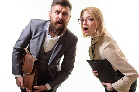 Surprised teachers, businessmen, office workers. Businessman in suit with suitcase. Businesswoman with folder. Business people with documentations. Surprised businesspeople holds folder and briefcase