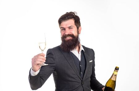 Businessman holds bottle and glass of champagne. Best wishes. Champagne cheers. Man in suit corporate party. Business celebration. Businessman drink sparkling wine. Celebrate success. Champagne toast