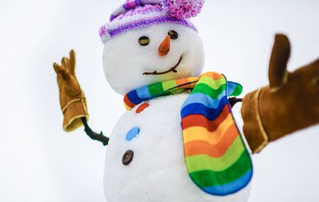 Snowman making selfie. Selfie. Winter. Christmas and New Year. Snowman wish you merry Christmas. Snow men. Happy winter time. Snowman in hat, scarf, gloves Stock Photo