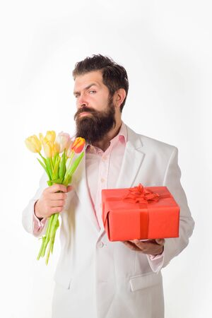 Man hold valentines present and flowers. Valentines Day. Happy Valentine's Day. February 14. Stock fotó