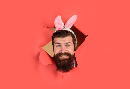 Happy Easter! Through paper. Easter. Bearded man with bunny ears. Egg hunt. Easter. Bunny ears. Breaking paper. Sale. Discount. Advertising. Bearded man through paper