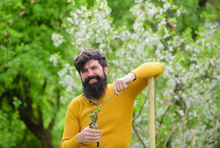 Plants. Garden scissors. Gardening. Eco-farm. Work in garden. Bearded man with gardening tools. Work in garden. Gardener work. Farm. Spring. Smiling man preparing to planting