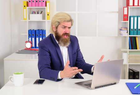 Confused businessman with laptop. Business expert. Businessman working with laptop in office. Bearded man with laptop. Businessman with computer. Office worker Stok Fotoğraf - 162233012