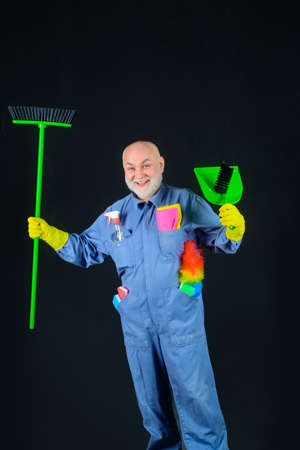 Cleaning equipment. Old man with broom. House cleaning. Broom. Professional cleaning. Cleaning service. Clean up. Clearing tools. Household. Housekeeping. Besom. Rag. Dust brush