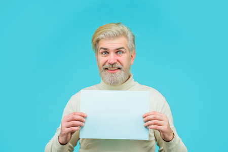 Insert your text. Sale. Discount. Advertising banner. Man with blank board. Man holds empty board. Bearded man holds empty board. Advertising board. Copy space for text Stok Fotoğraf - 162233179
