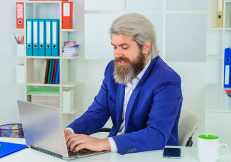 Businessman in suit in Office. Office worker. Bearded man with laptop. Leadership. CEO. Business expert. 版權商用圖片