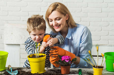 Planting together. Mother and son planting flowers. Family relationships. Care for plants. Gardening.