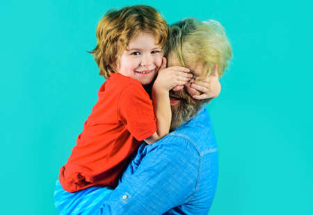 Happy fathers day. Dad hugs with son. Family time. Good relationships. Parentship concept.
