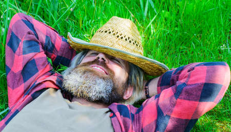 Enjoying sunny day. Bearded man relaxing on green grass outdoors in summer. Happy male in checkered shirt and straw hat. 版權商用圖片