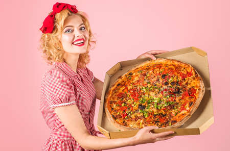 Pizza time. Happy woman with big pizza in box. Pizza delivery. Italian delicious tasty food.