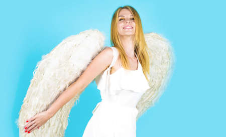 Valentines angel with white wings. Cupid girl in valentine day.