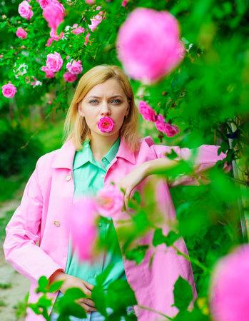 Beautiful girl in blooming garden. Sensual woman at park with pink roses. 版權商用圖片