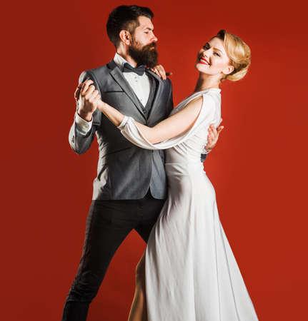 Dancing, Salsa, Waltz. Ballroom dancer couple. Passion and love concept.