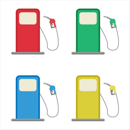 Vector illustration of gas station with petrol pump. Isolated on white. Flat concept.
