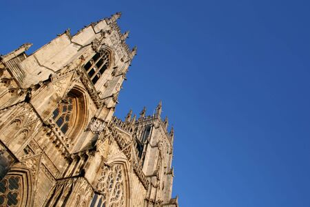 york minster: York Minster Cathedral and Blue Sky (Landscape) Stock Photo