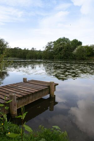 Small Jetty on the Lake at Witley Court (Portrait) Stock Photo