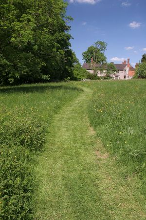 Path Mown Across Garden Lawn Stock Photo