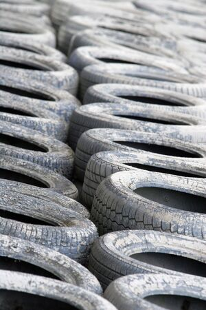 White Painted Motorsport Tyre Wall Stock Photo - 5147295