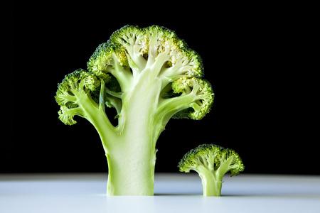 Cross section of broccoli on black bacground Stock Photo