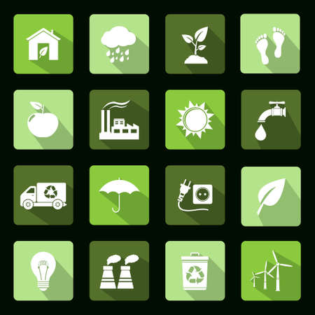 Ecology vector flat icons set Illustration