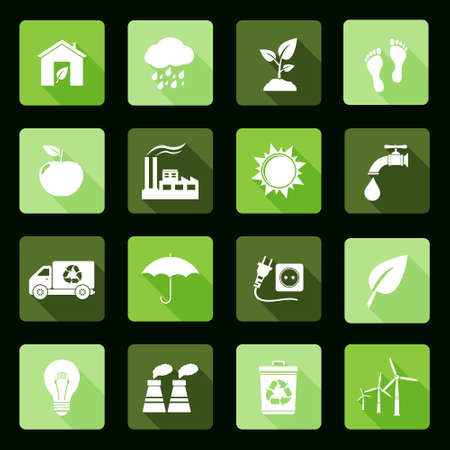 Ecology icons set  Flat design  Illustration
