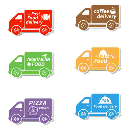 Fast food delivery car icons Illustration