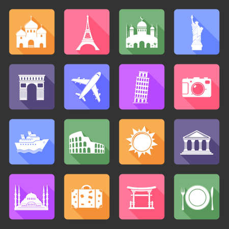 Travel and landmarks flat icons set Illustration