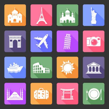 Travel and landmarks flat icons set Illustration