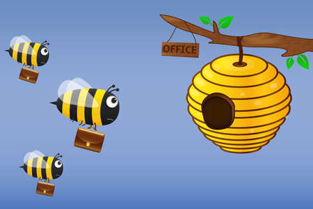 Bee with briefcase flies to work