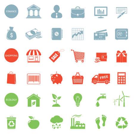 Finance, shopping and ecology icons