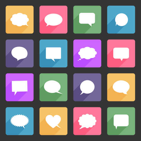 Speech bubbles flat icons set Illustration