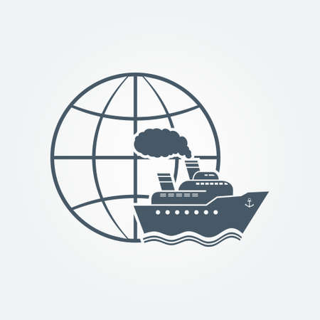 Globe and ship travel icon Illustration