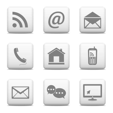 Contact buttons set, e-mail icons for website Illustration