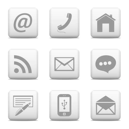 Contact buttons set, email icons Illustration