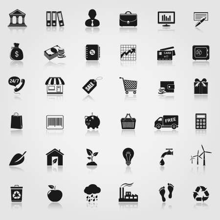 Banking, shopping and ecology icon set Vector
