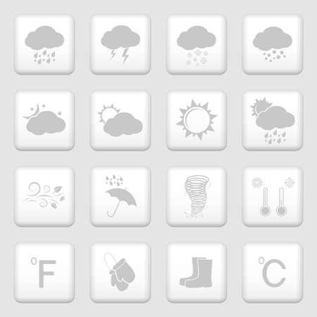 climatology: Weather icons, web buttons set Illustration