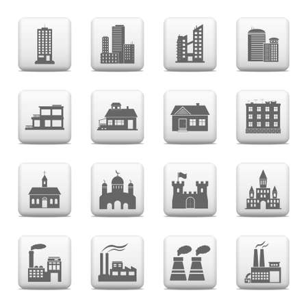 Web buttons, building icons Vector