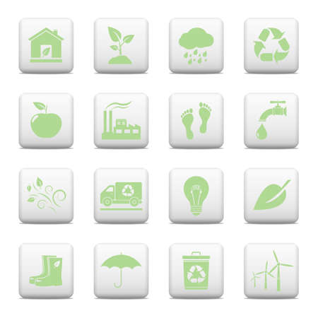 Ecology web buttons set Vector