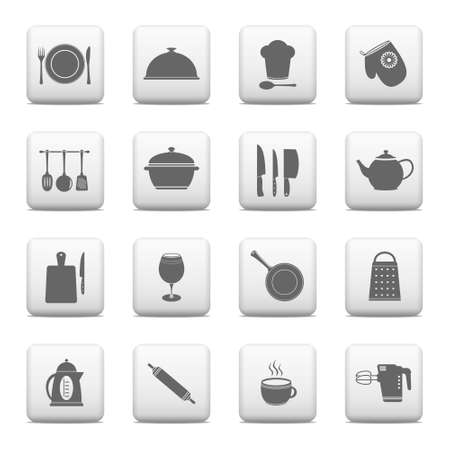 Web buttons, kitchen and cooking icons